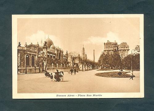 plaza san martin . antigua tarjeta postal .