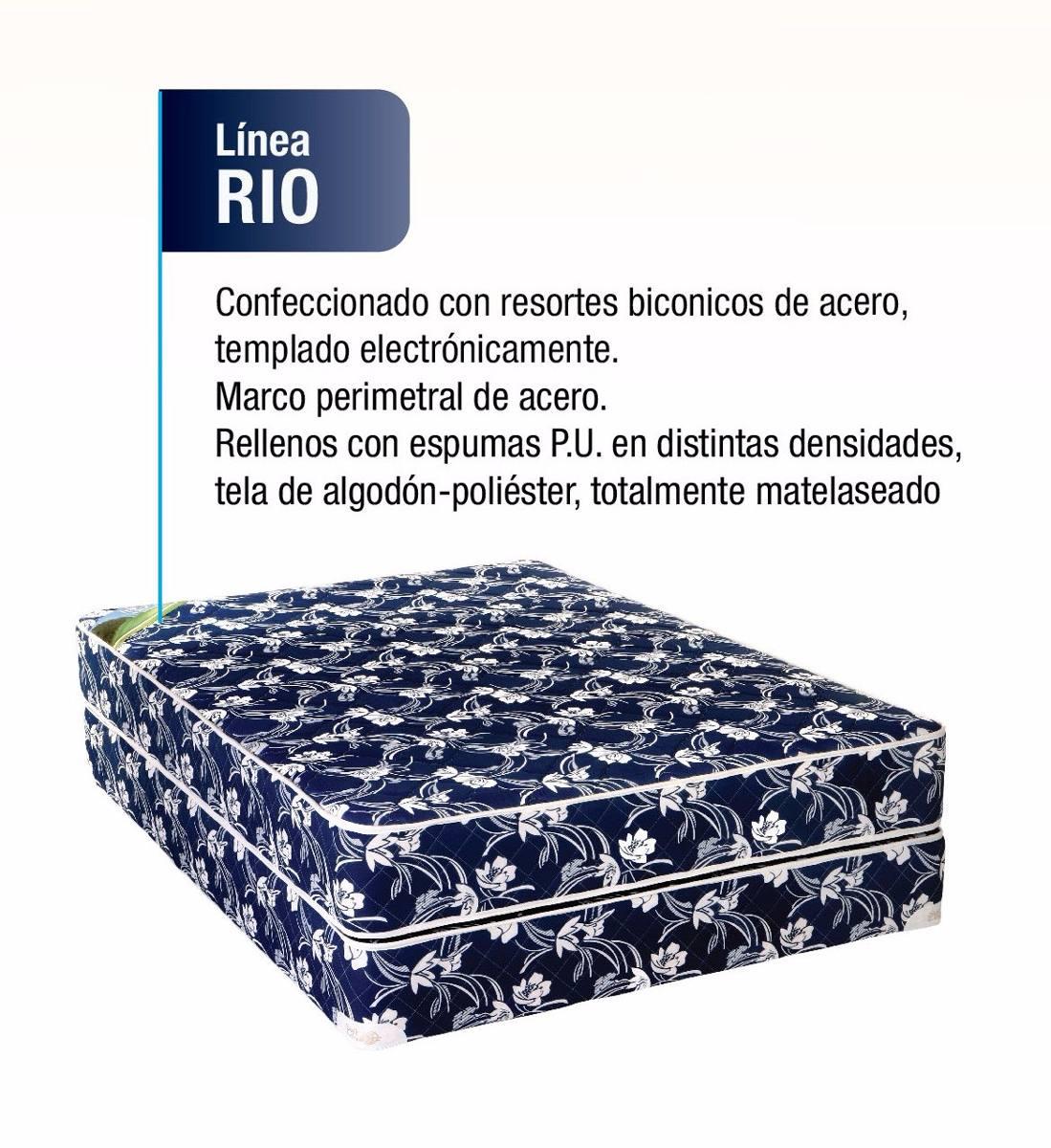 Conjunto De Somier 2 Plazas Colchon De Resortes Rio 4 599 00  # Muebles Relleno Solana