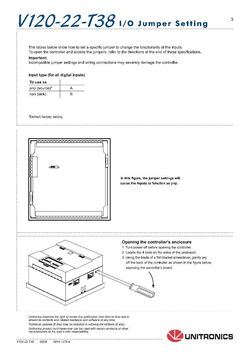 Plc Unitronics Vision 120 V120 22 T38 Ed 16 St S 285000 En Rs485 Wiring Cargando Zoom