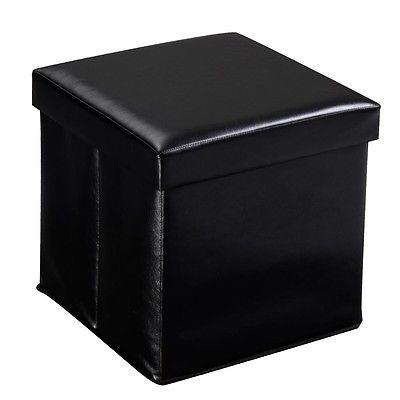 Plegable Cubo Piel Sintética Puffs Otomano... (black) - $ 37.990 en ...