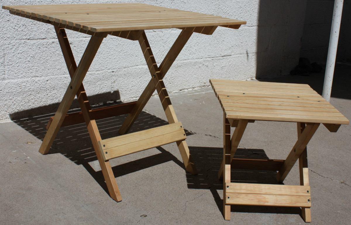 Mesa de jard n mueble plegable madera jardin o interiores for Diseno de mesa plegable