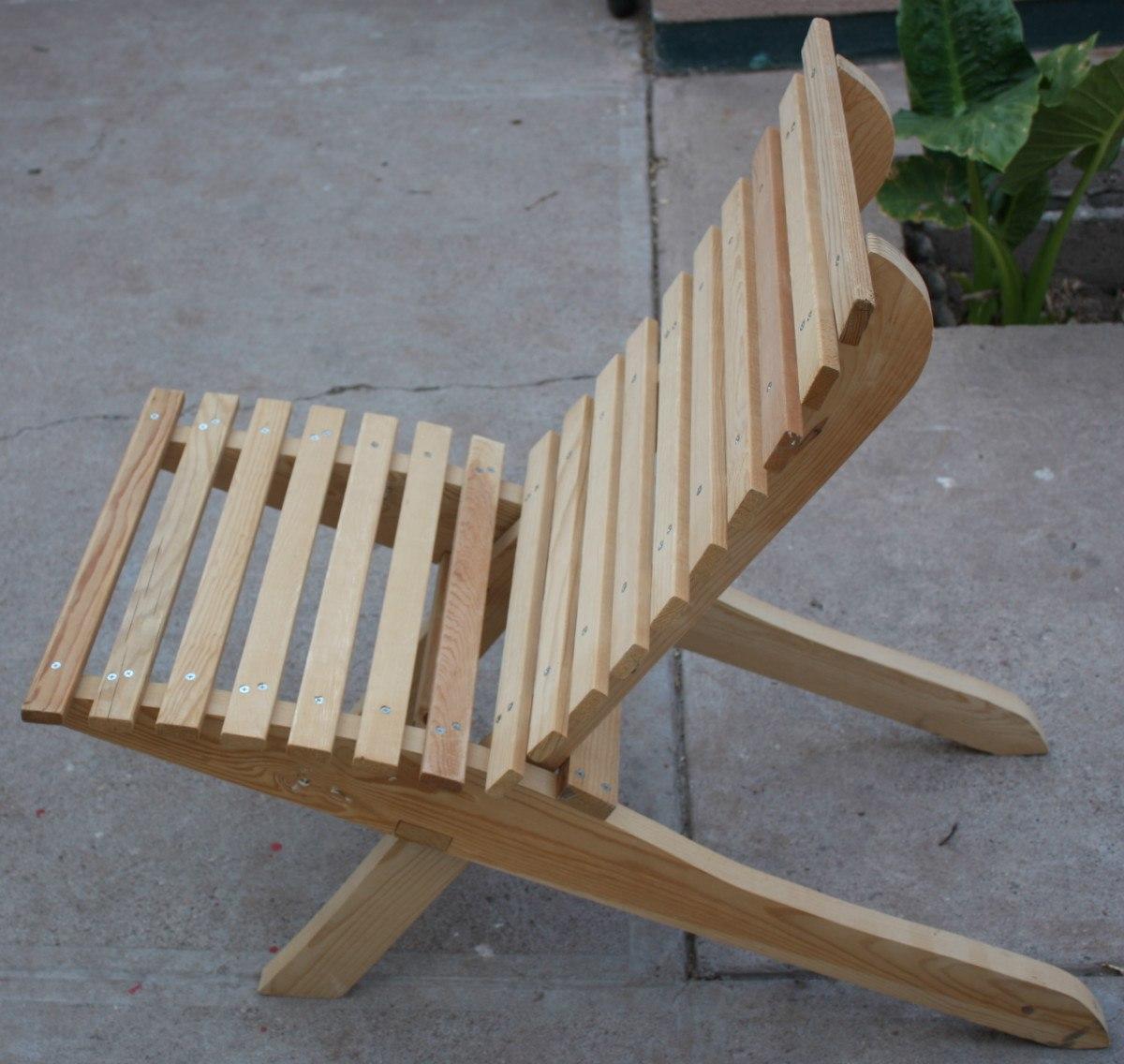 Silla mueble plegable madera jardin o interiores 449 for Silla escalera de madera plegable