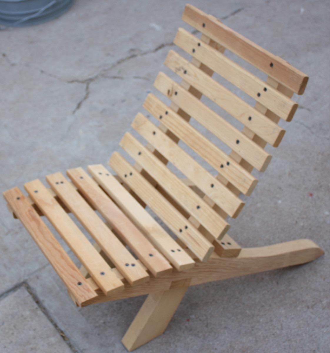 Silla para ni o mueble plegable madera jardin o interiores for Galpon de madera para jardin