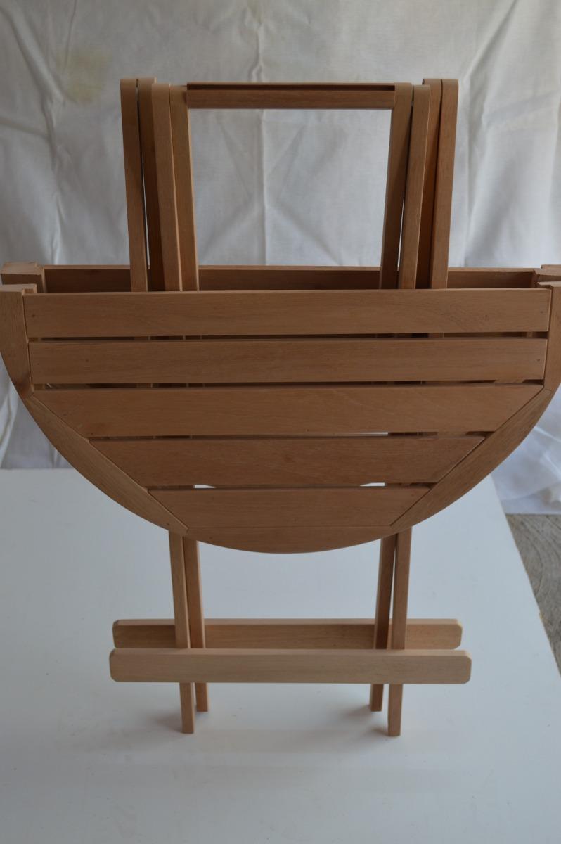 Mesa auxiliar plegable de madera jard n terraza envio for Mesa plegable mercado libre