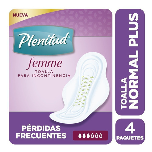 plenitud toalla normal plus femme x 16 unidades pack x 4