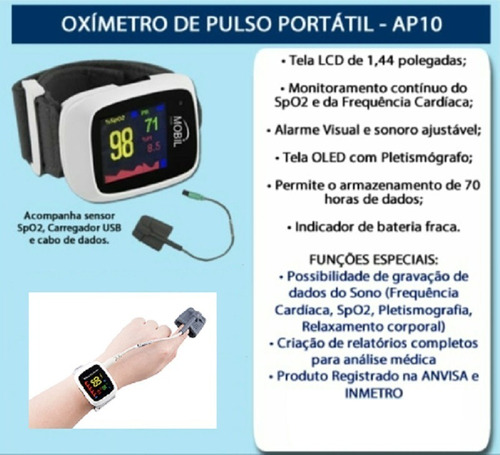 plestimografia oximetria e frequência cardíaca ap10 mobil