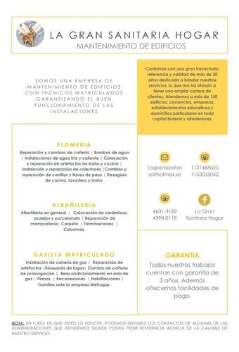 plomeria- albañileria- gasistas matriculados
