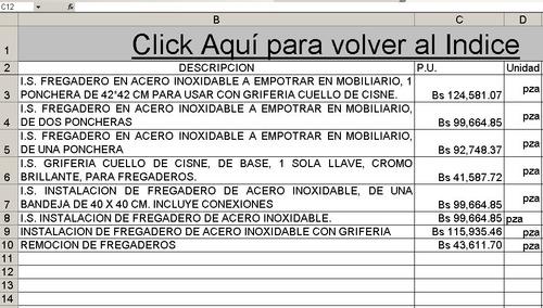 plomeria presupuesto tabulador mano de obra abril 2019