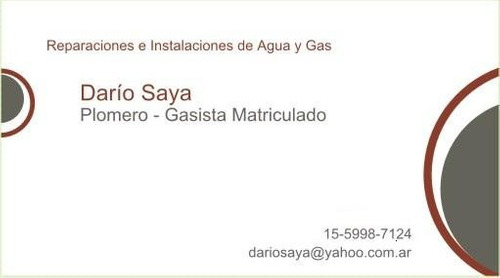 plomero / gasista matriculado 1559987124 zona norte