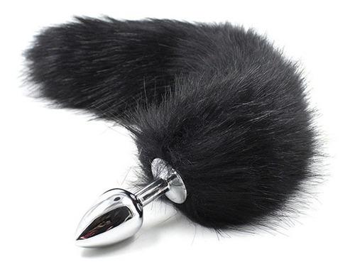 plug anal cola de zorro sexy unisex mujeres color negro