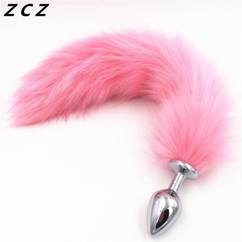 plug anal metalico cola de zorro rosa acero inoxidable