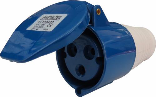 plug femea 32a 2p+e-6h azul tlt32432 - metaltex