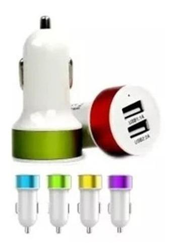plug in auto doble 5v 2.1a usb 2 puertos varios colores