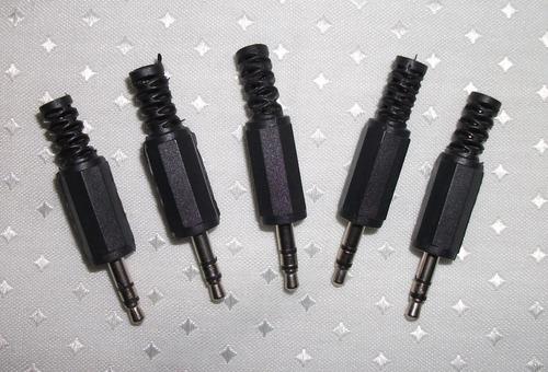 plug p2 stéreo preto com rabicho-plástico- pct. c/5 unidades