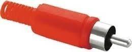 plug rca plástico vermelho  kit com 10