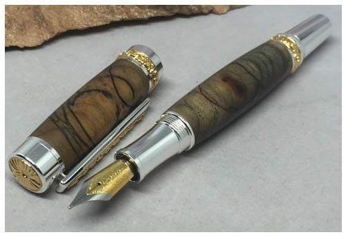 pluma de maderas preciosas, roller ball y fuente