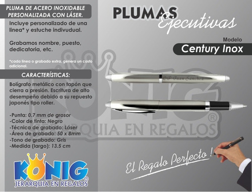 pluma elegante roller personalizada acero inoxidable estuche