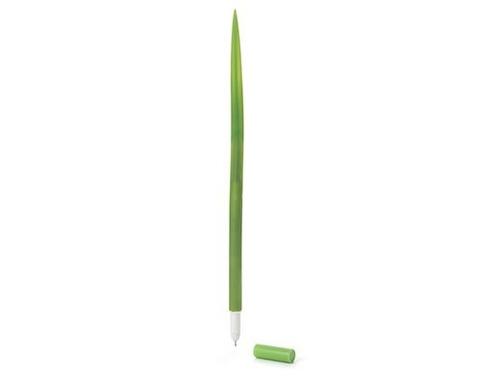 pluma en forma de hoja de pasto verde kikkerland tinta negra