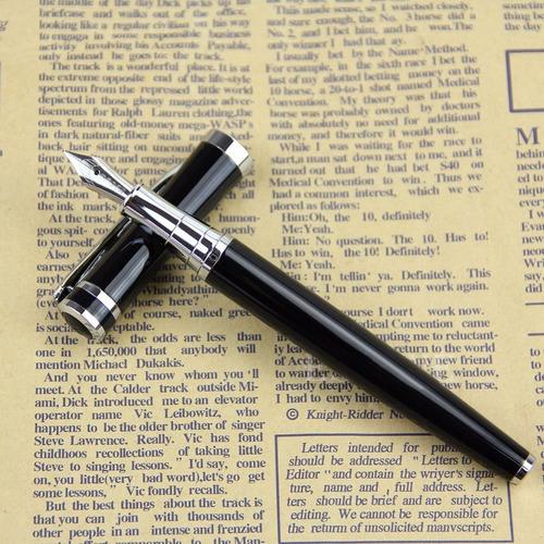 pluma fuente elegante black punto medio + tinta envio gratis