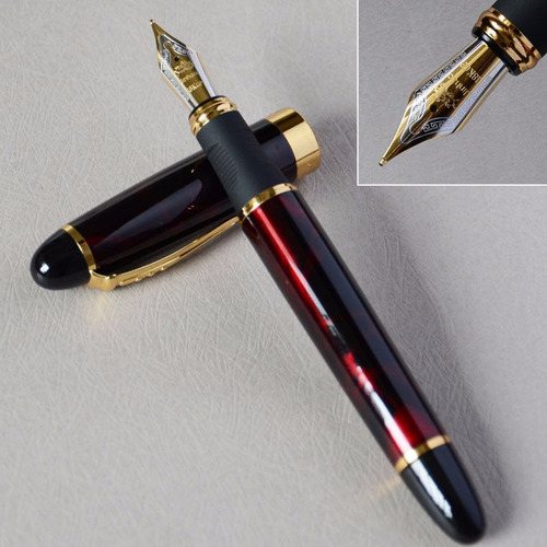 pluma fuente marca jinhao modelo x450 color lava roja