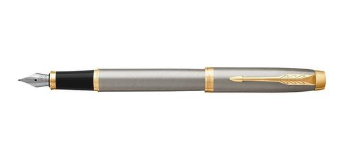 pluma fuente parker im metal cepillado detalles dorados