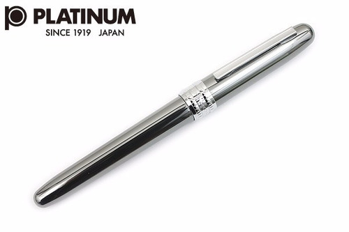 pluma fuente platinum. gris. punto f. tipo lamy al-s