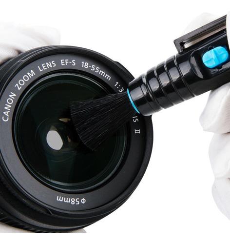 pluma limpiadora quita polvo lente de cámara fotográfica