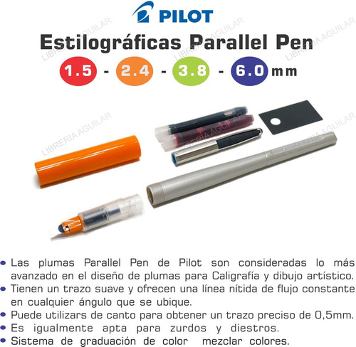 pluma parallel pen pilot incluye accesorios 1.5 2.4 3.8 6.0