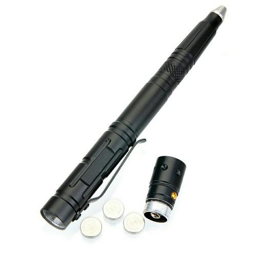 pluma tactica navaja linterna rompe vidrios defensa 4 en 1
