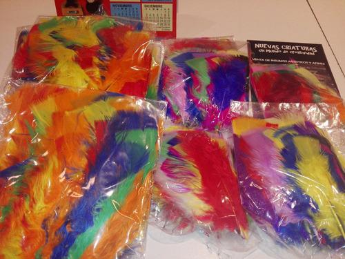 plumas artisticas de gallo surtidas x 50 unidades