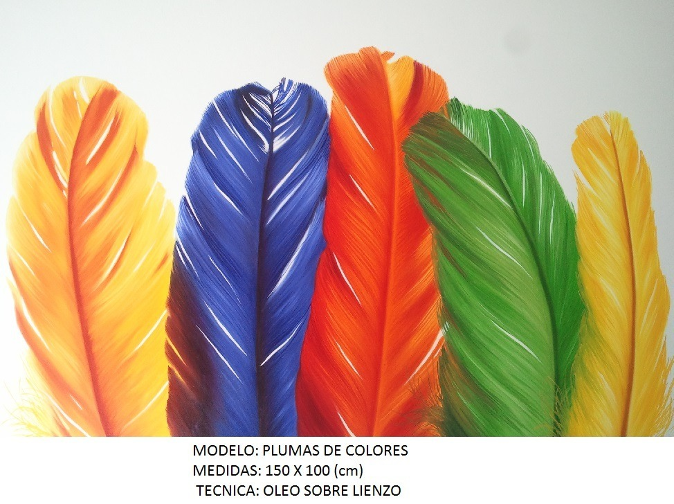 Plumas De Colores Cuadro Al Oleo, Ferbel Art - $ 2,600.00 en Mercado ...