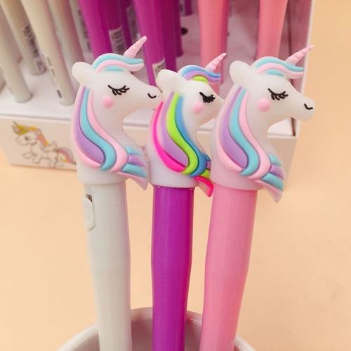 plumas kawaii unicornio c/luz de gel  paquete de 12 colores