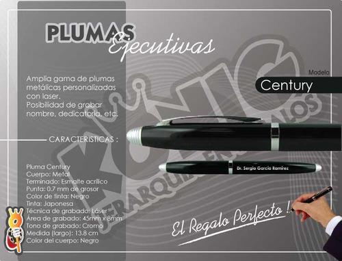plumas personalizadas elegante, estuche y grabado láser gratis, century negra