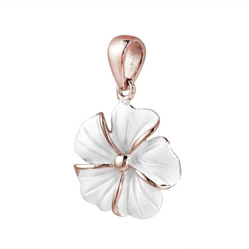plumeria hawaiana flor rose gold over .925 colgante de plata