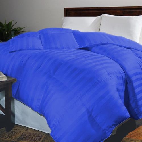 plumón doble sateen stripe karytex - azul imperial