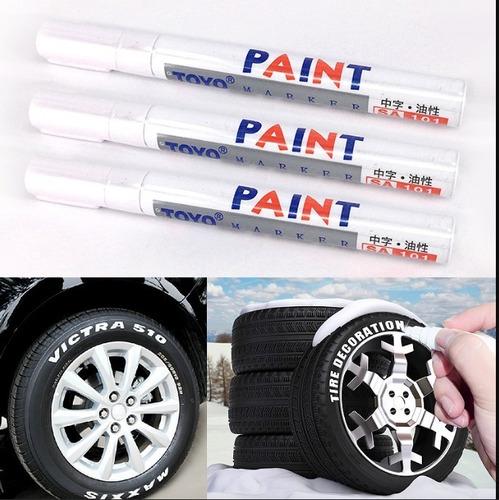 plumon marcador llantas blanco letras moto y auto