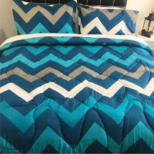 plumón queen estampado +2 fundas picos azules