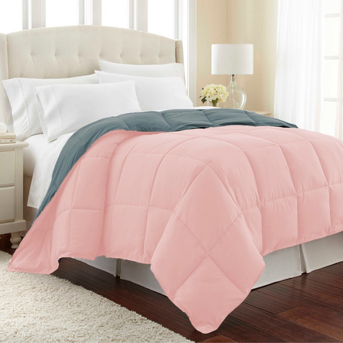 plumón sencillo bicolor doble faz rosa - gris