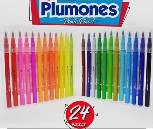 plumones marcador punta pincel x 24 unidades