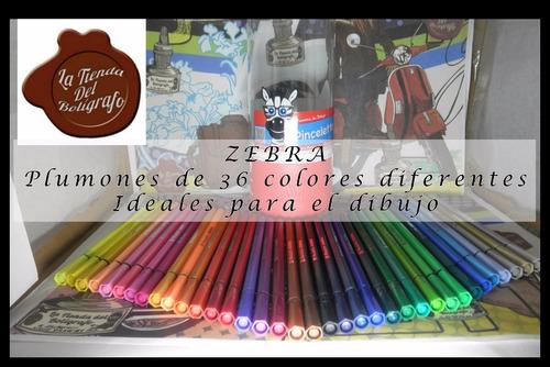 plumones para dibujo, zebra pinceleto x36