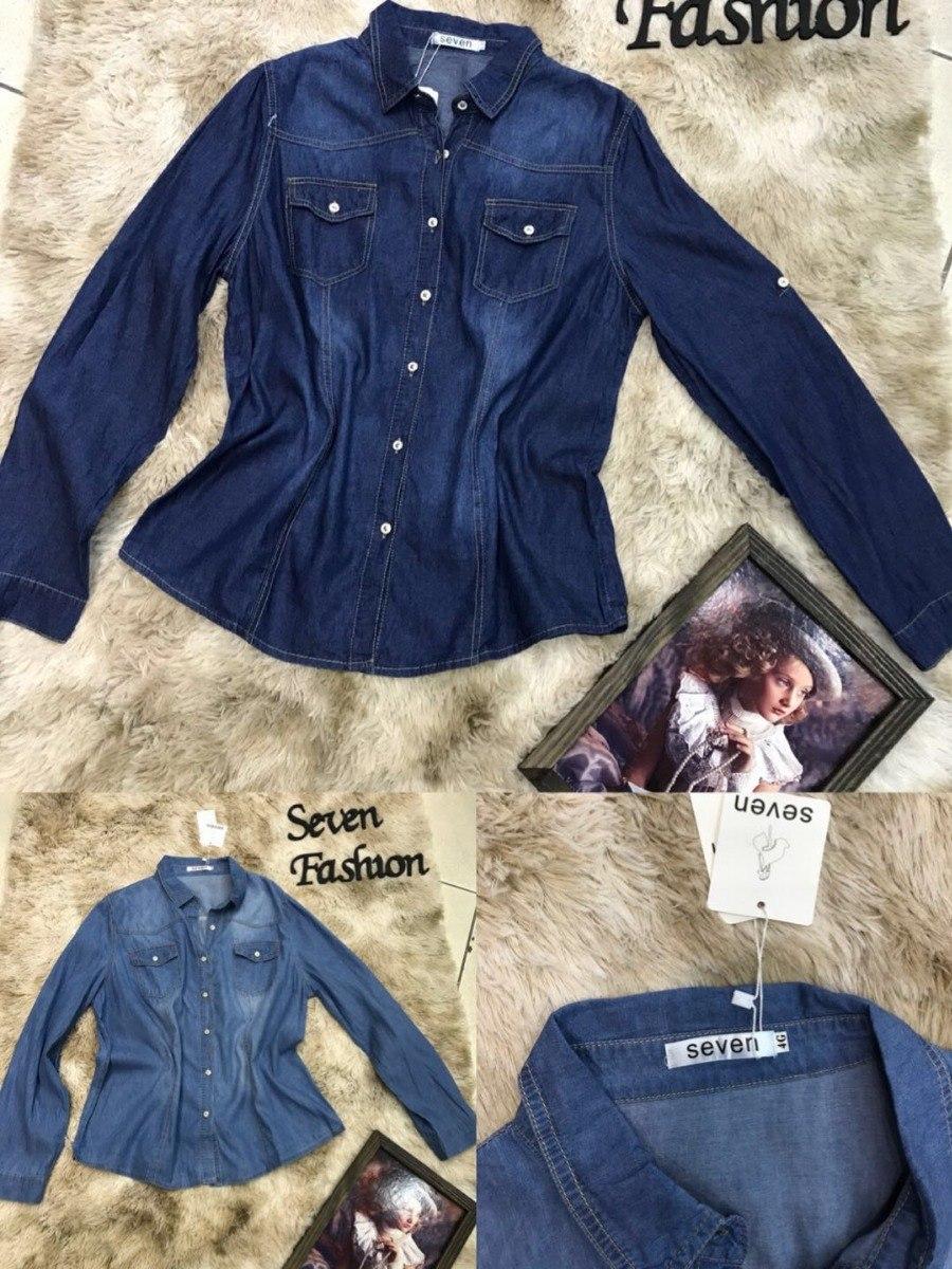 7db36d1c9 Plus Size Camisa Jeans Feminina Tamanho G1 G2 G3 G4 Importa - R  80 ...