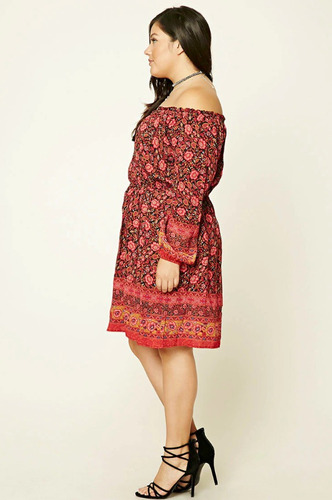 plus size floral print dress forever 21 - talle especial