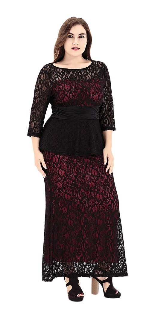 Plus Size Round Collar 34 Sleeve See Through Lace Dress