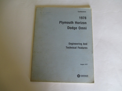 plymouth horizon dodge omni 1978- engineering and technical