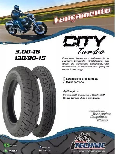 pneu 130/90-15 city turbo tras. virago 250 / mirage 250