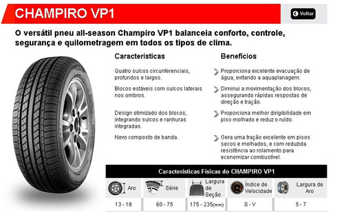 pneu 165/80r13 gt radial champiro vp1 83h original p/  vw up