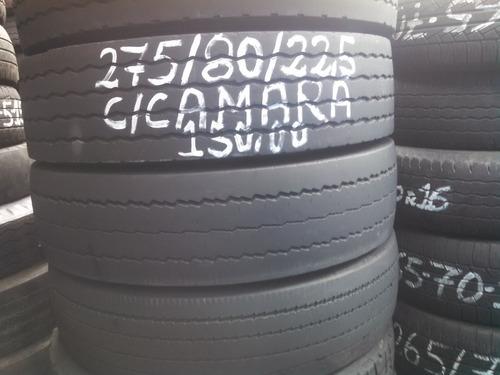 pneu 275/80/22,5 usado riscado para rodar com camara - leia