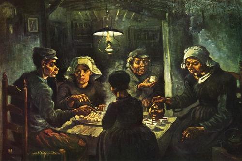 pobre familia comendo batatas grande art de van gogh na tela