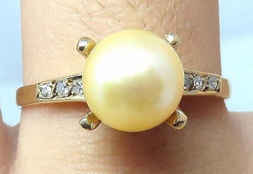 pocao2005 anel de ouro 18k diamante pérola 12x s/j ft/gt 245