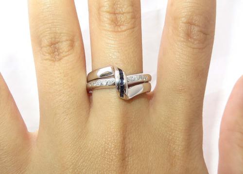 pocao2005- anel de ouro 18k750 diamantes safiras 502